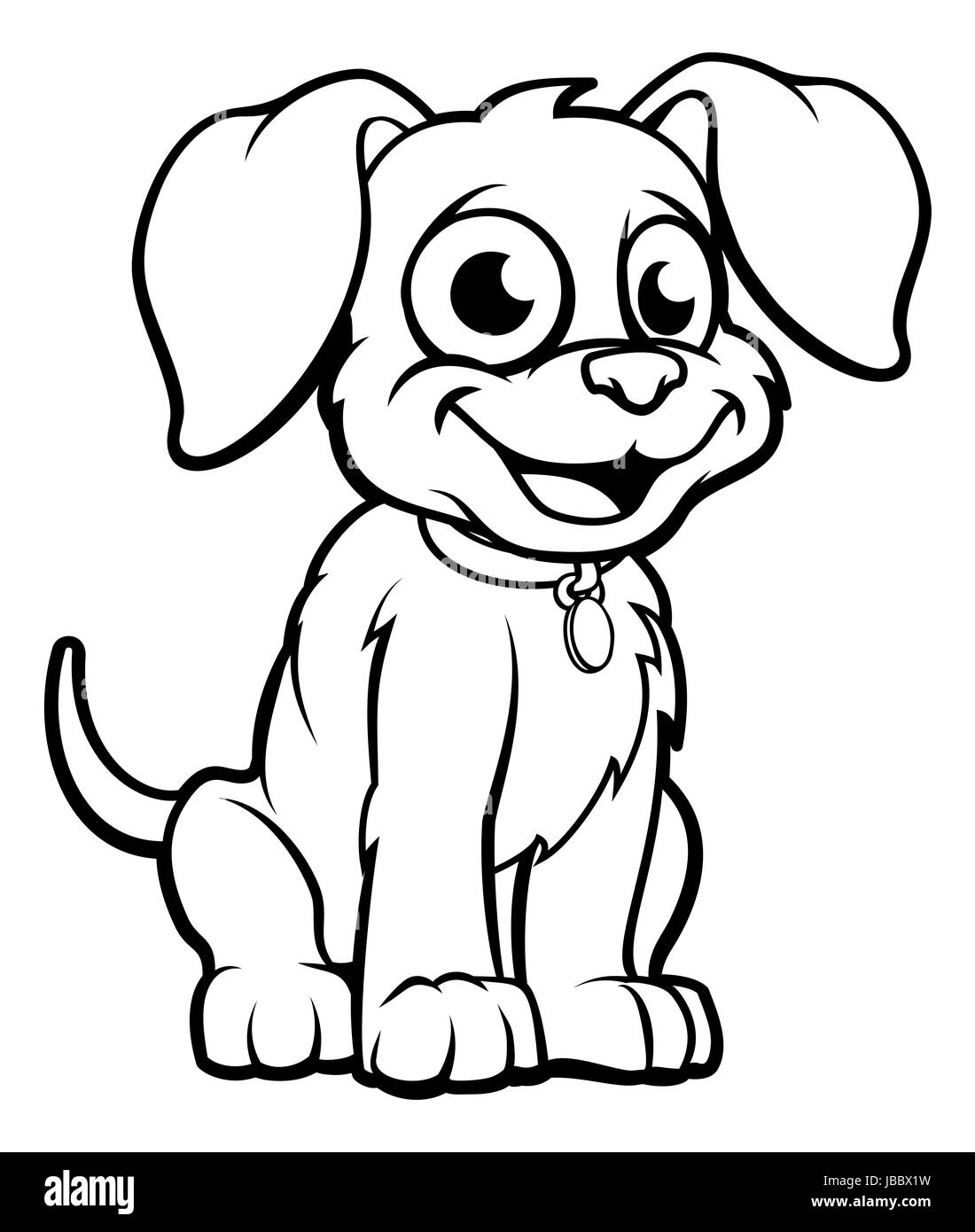 Cute cartoon dog character outline coloring illustration Stock Photo