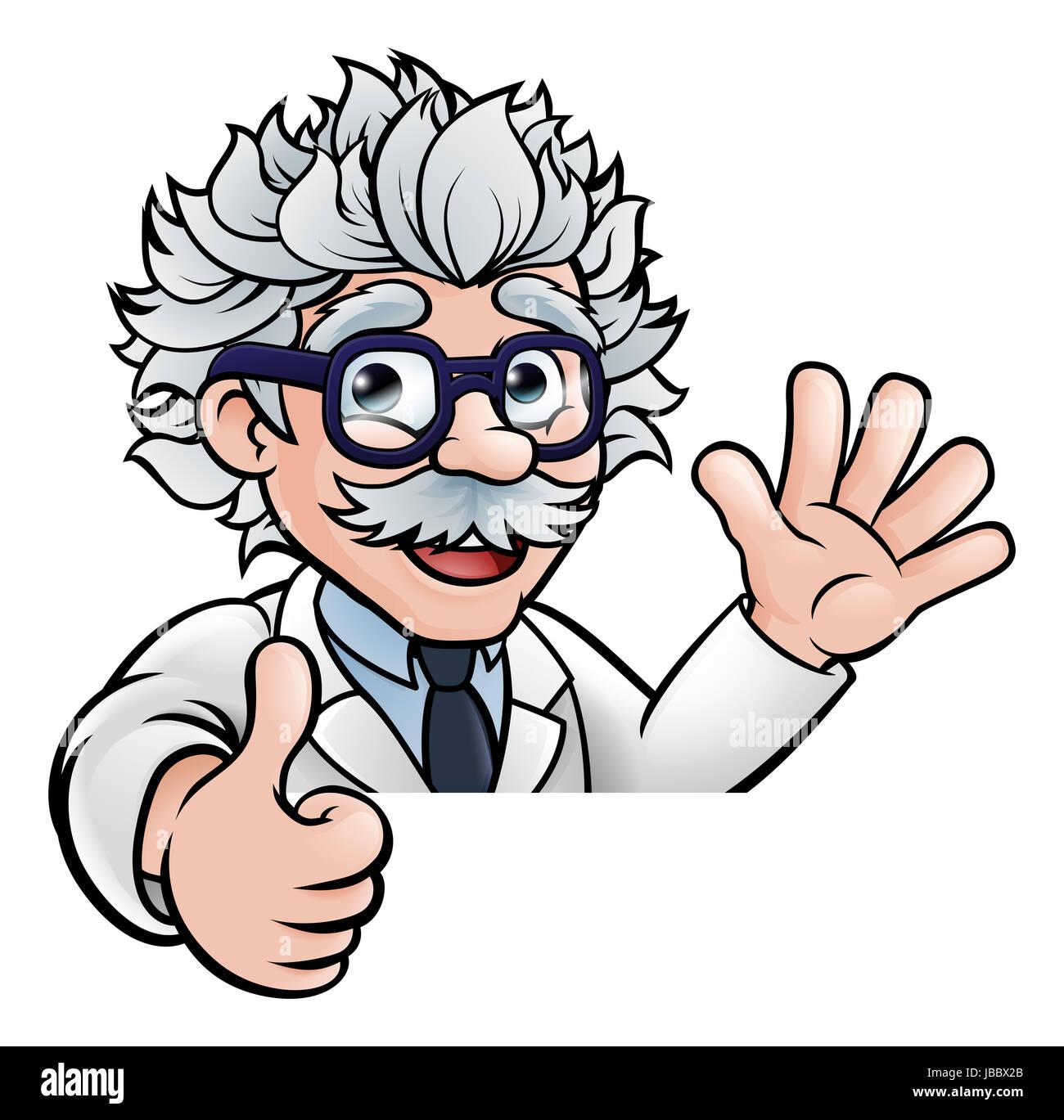 Cartoon Mad Scientist Black and White Stock Photos