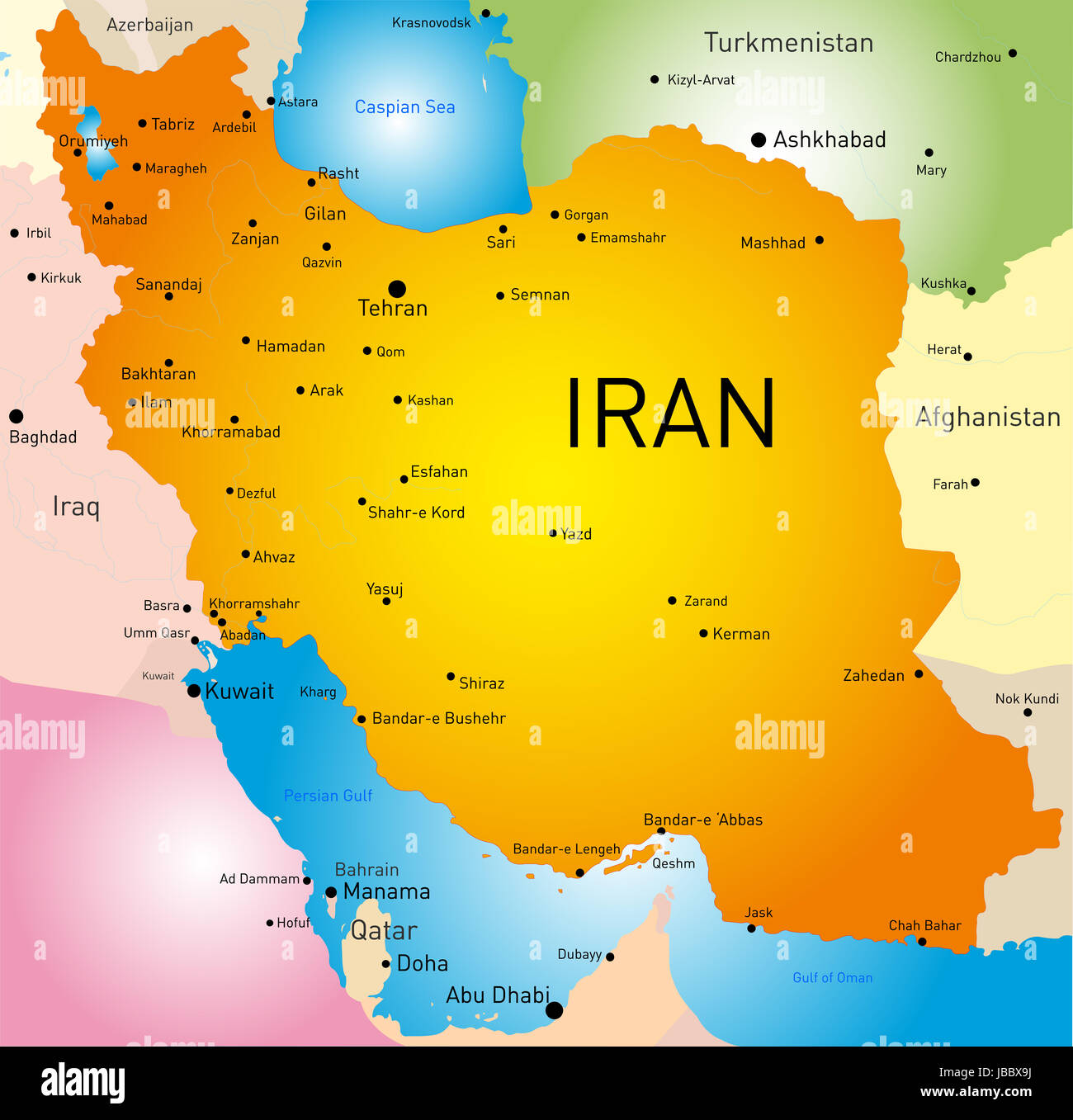 vector detailed map of Iran country Stock Photo