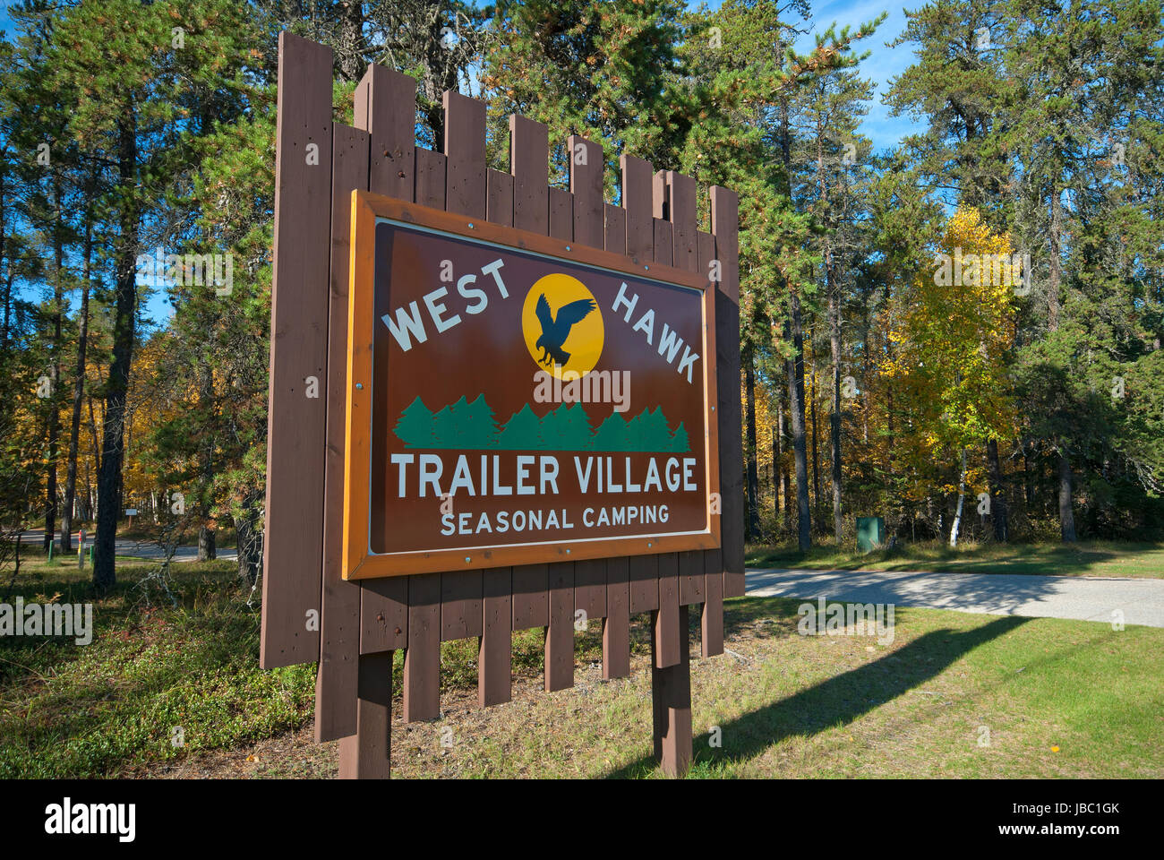Sign Of West Hawk Lake Camping Whiteshell Provincial Park Manitoba Stock Photo Alamy