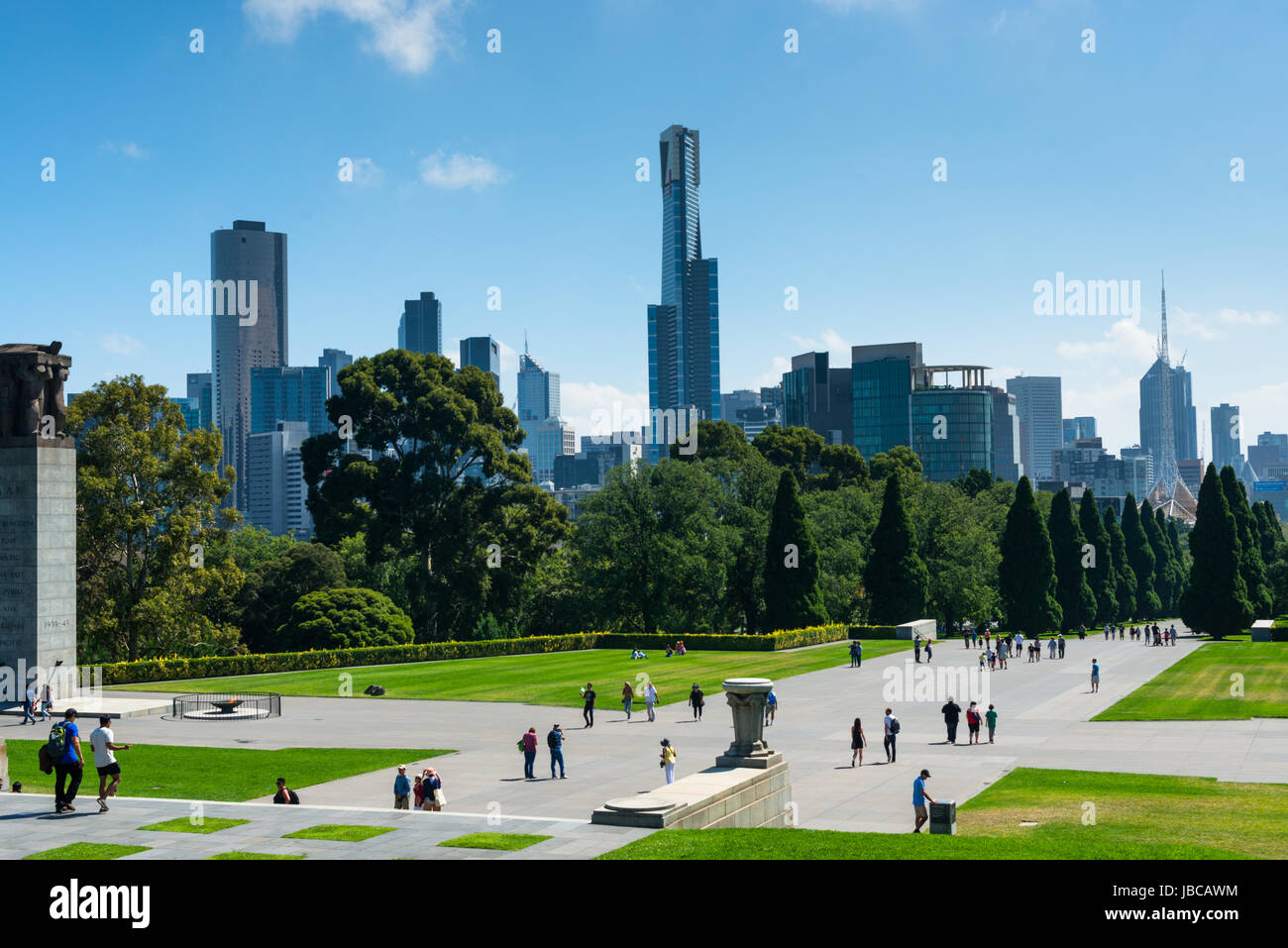 City skyline seen from Shrine of Remembrance, Melbourne, Victoria, Australia - Stock Image