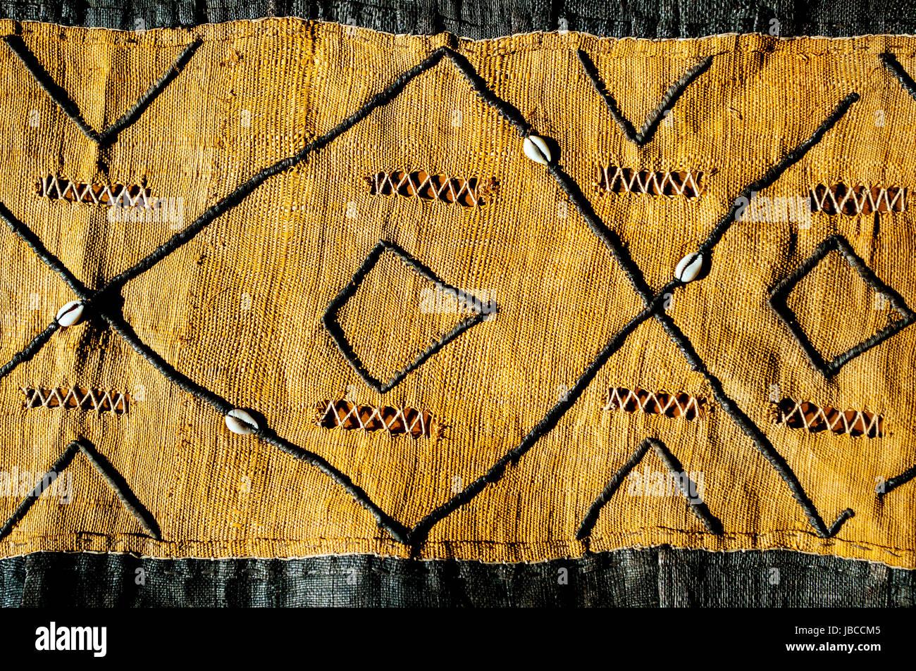 kuba raffia cloth from democratic republic of congo in studio setting Stock Photo