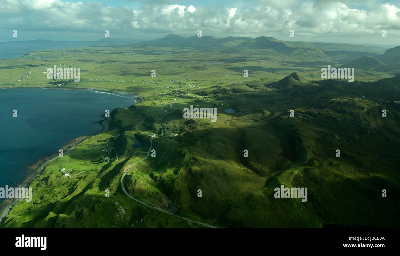 Aerial View Flodigarry & Staffin, Isle of Skye - Stock Image