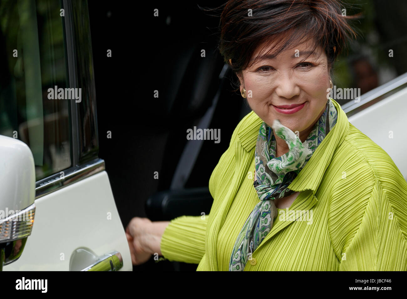 Tokyo, Japan. 10th June, 2017. Yuriko Koike, Tokyo Governor and leader of the Tomin First no Kai (Tokyo Citizens - Stock Image