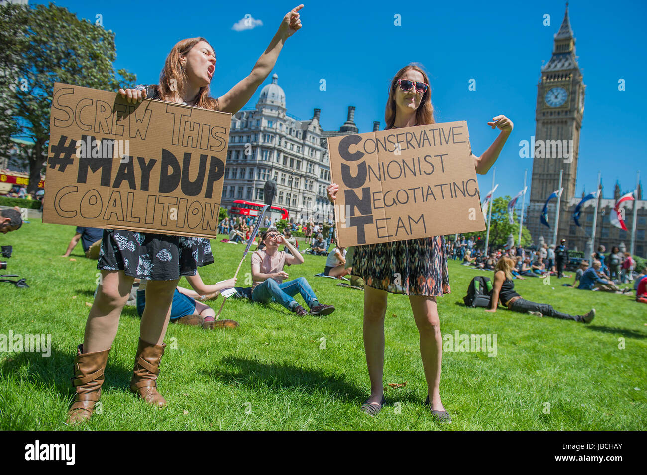 London, UK. 10th June, 2017. A day after the election result protestors gather to ask for Theresa May to quit and - Stock Image