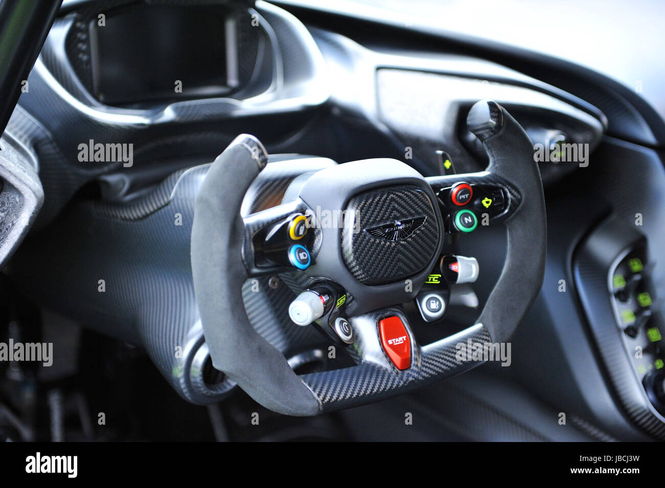 London Uk 09th June 2017 The Steering Wheel Of A 2016 Aston