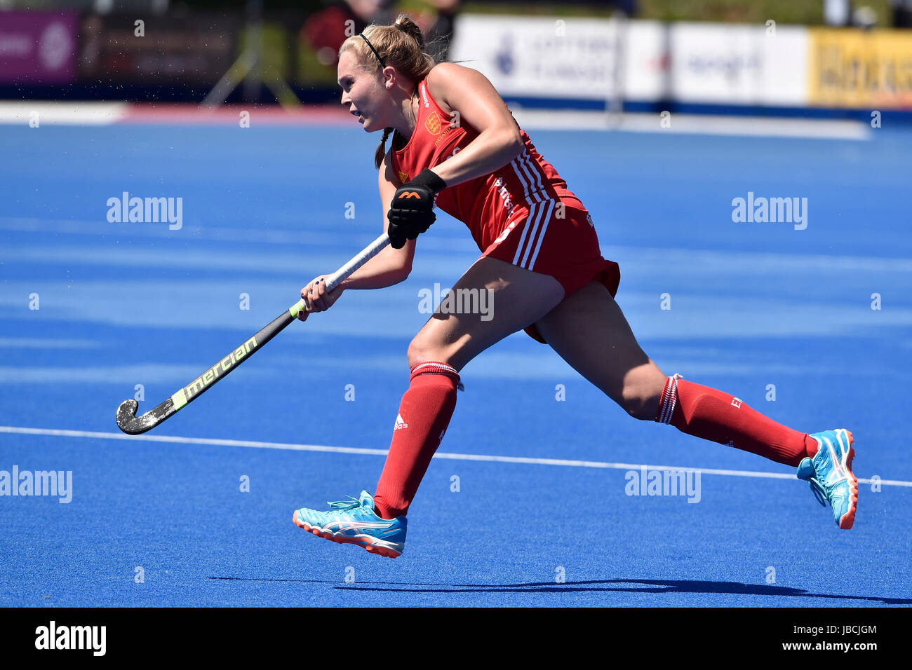 LONDON ENGLAND - June 10, 2017: Emily Defroand in action during 2017 Investec International Women's Hockey England - Stock Image