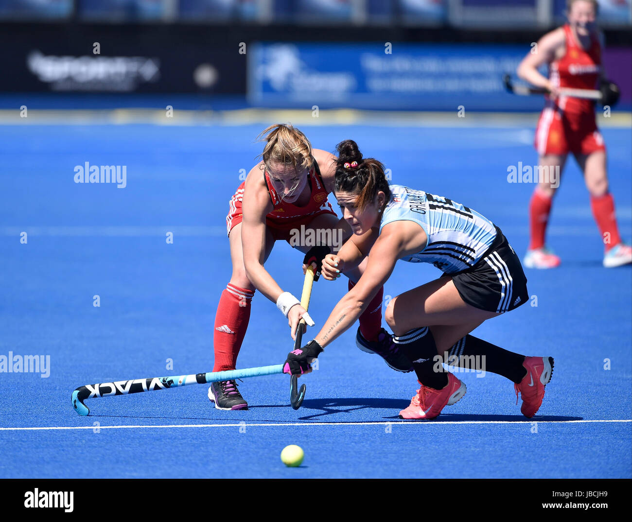 LONDON ENGLAND - June 10, 2017: Shona McCalin (ENG) clashed with Maria Granatto (ARG) during 2017 Investec International - Stock Image