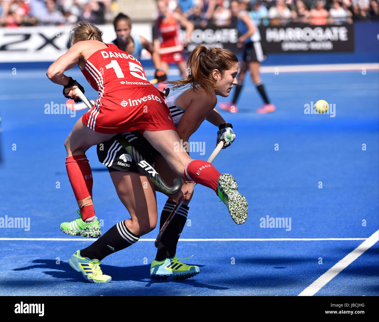 LONDON ENGLAND - June 10, 2017: Alex Danson (ENG) clashed with Julia Gomes (ARG) during 2017 Investec International - Stock Image