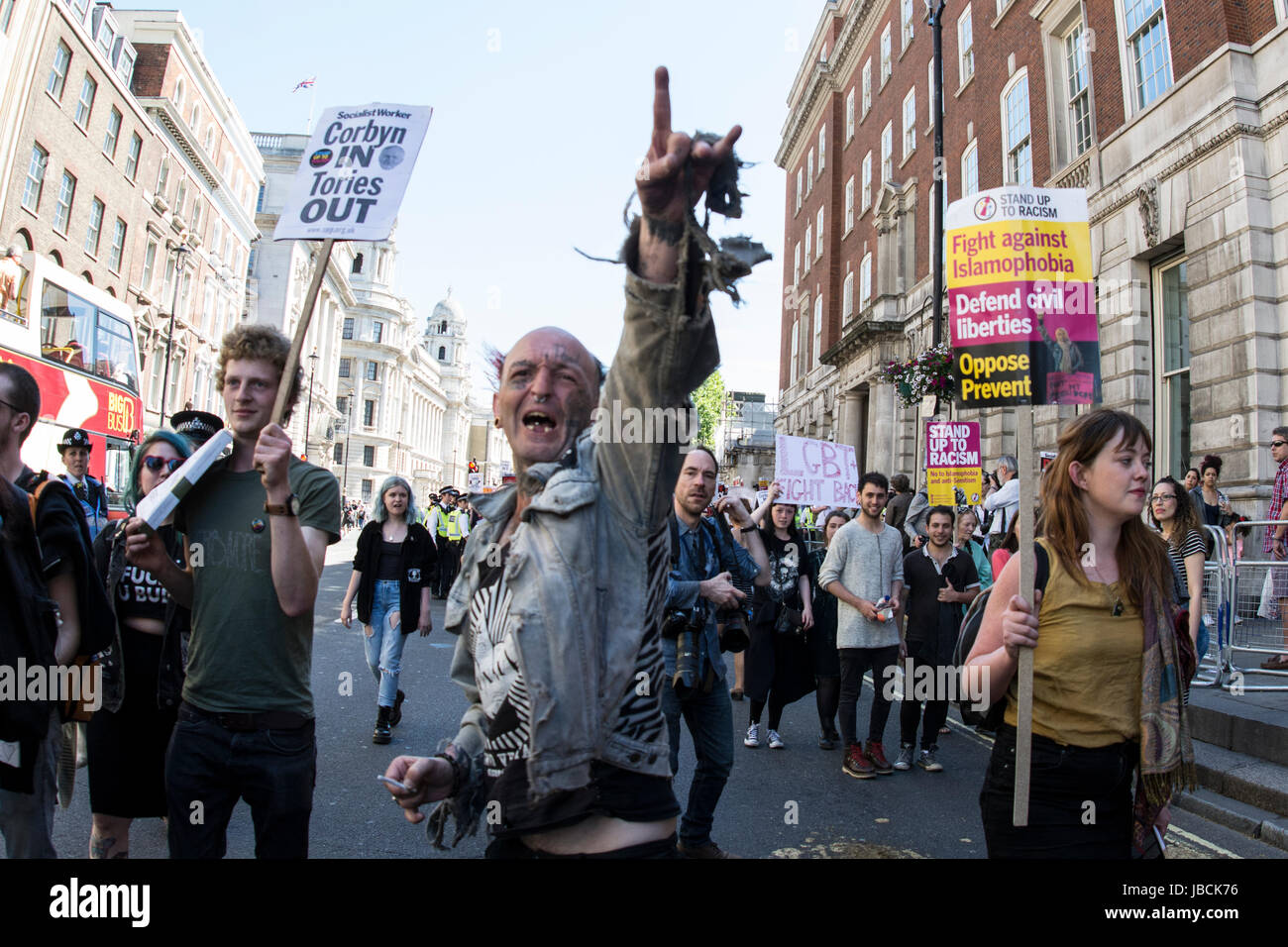 Parliment Square, Westminster, UK. , . First protest since the elction, Protesters gathering outside parliment square - Stock Image