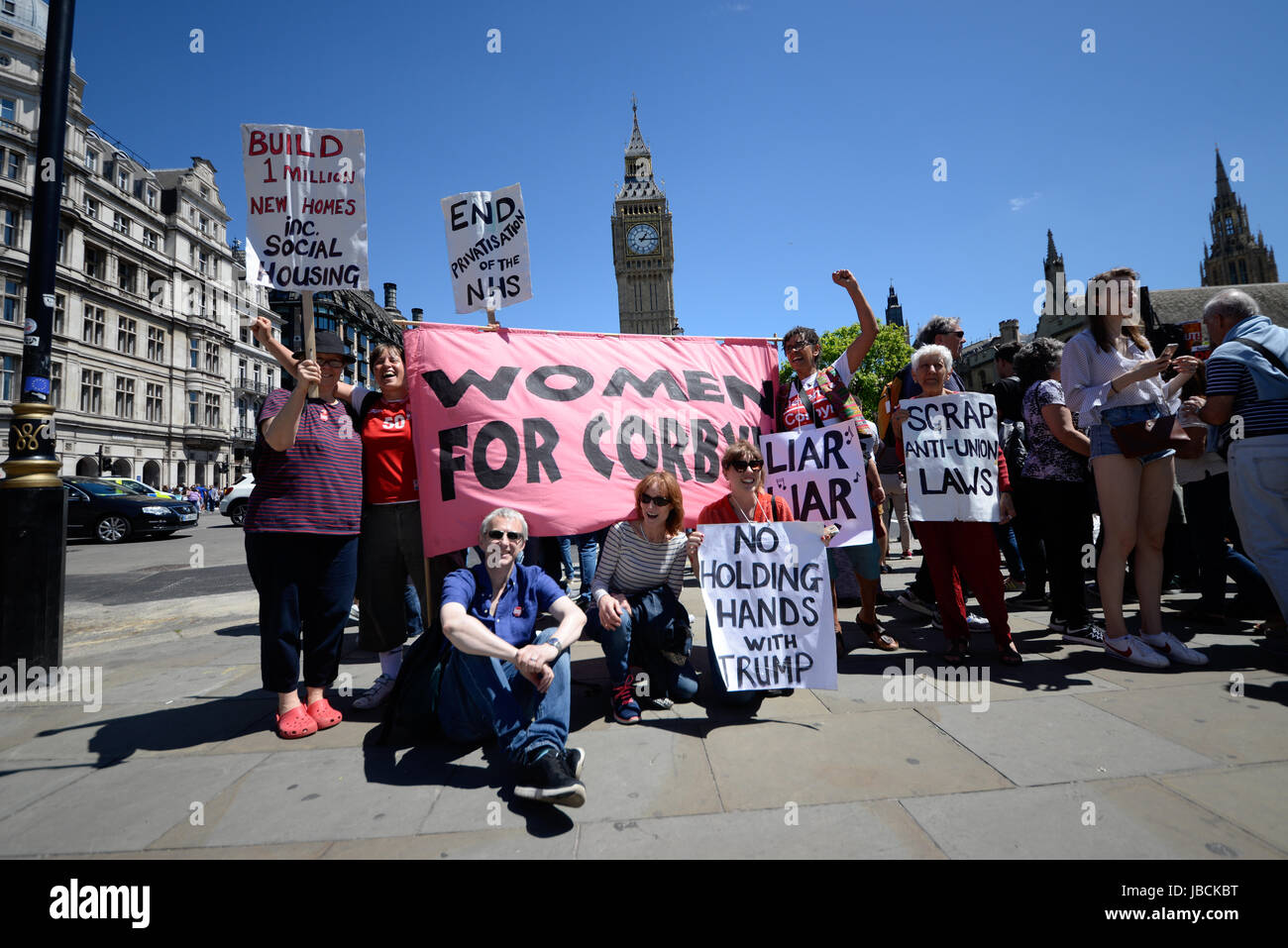 Protest against DUP / Tory alliance outside Parliament and march to Downing Street, London. Space for copy - Stock Image