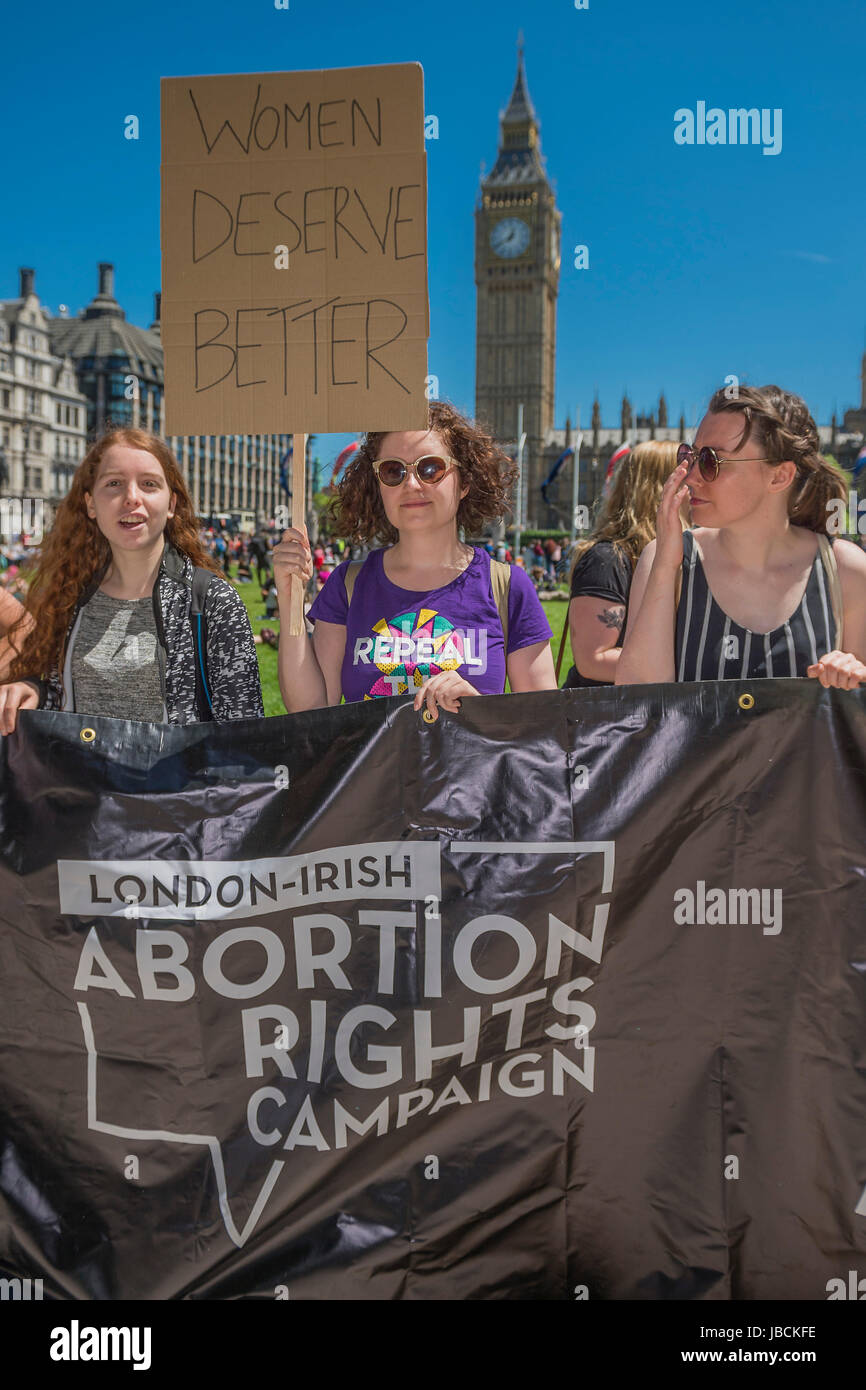 The London-Irish abortion rights group demands fair womens rights - A day after the election result protestors gather - Stock Image