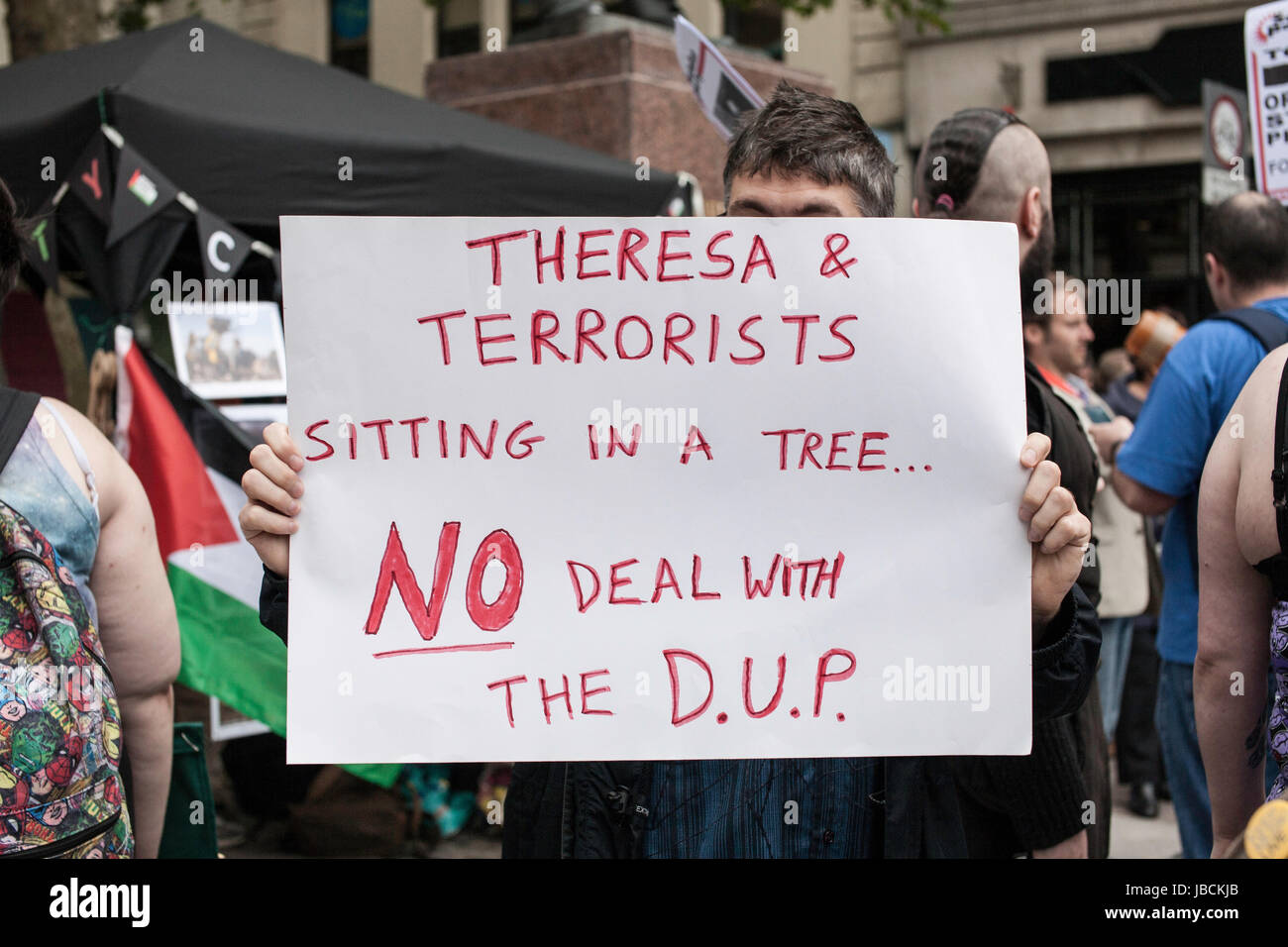 Cardiff, UK. 10th June, 2017. Poster that says 'no deal with the DUP'. Calling for Conservative Prime Minister Theresa Stock Photo