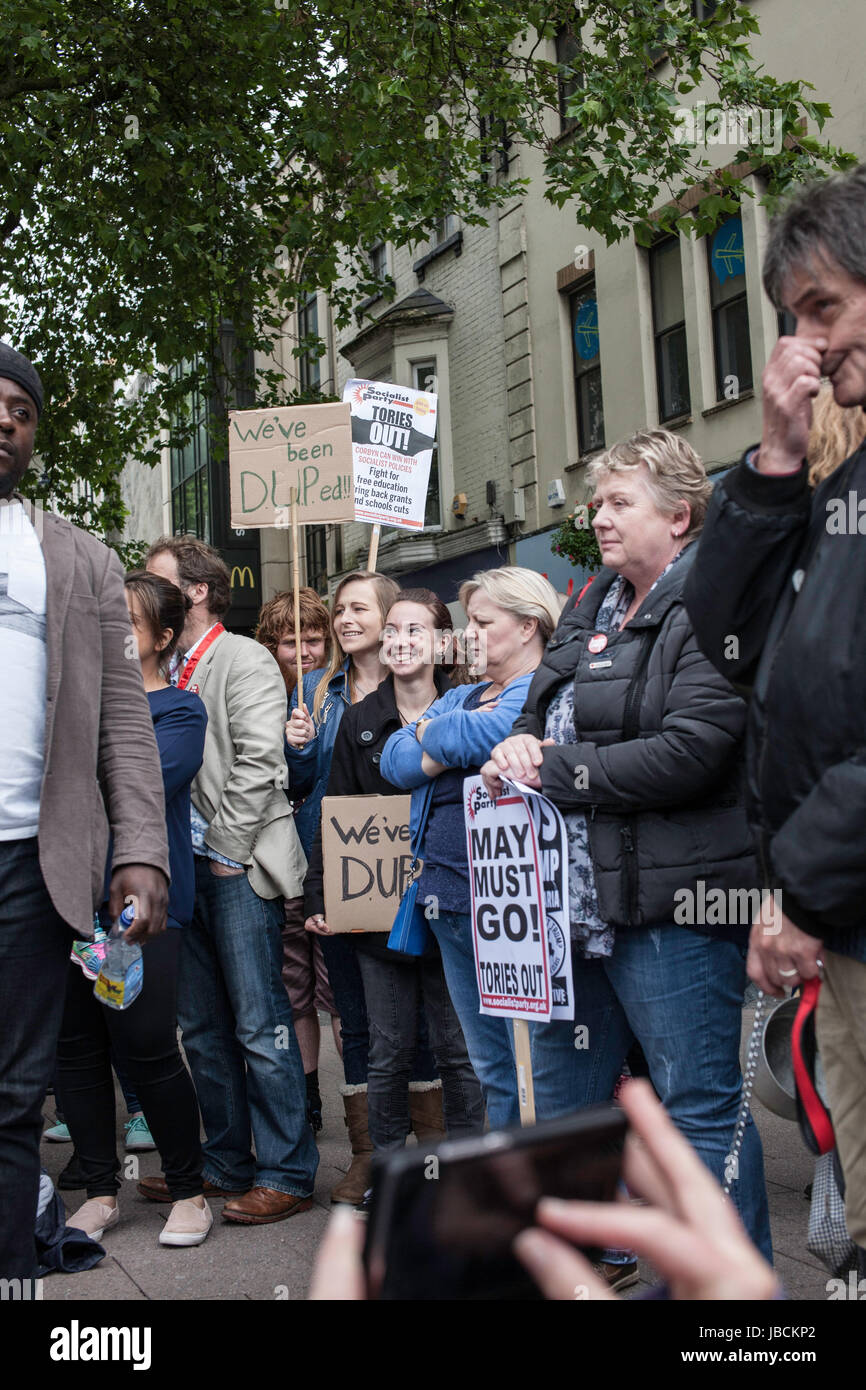 Cardiff, UK. 10th June, 2017. Calling for Conservative Prime Minister Theresa May to resign, in conjunction with Stock Photo