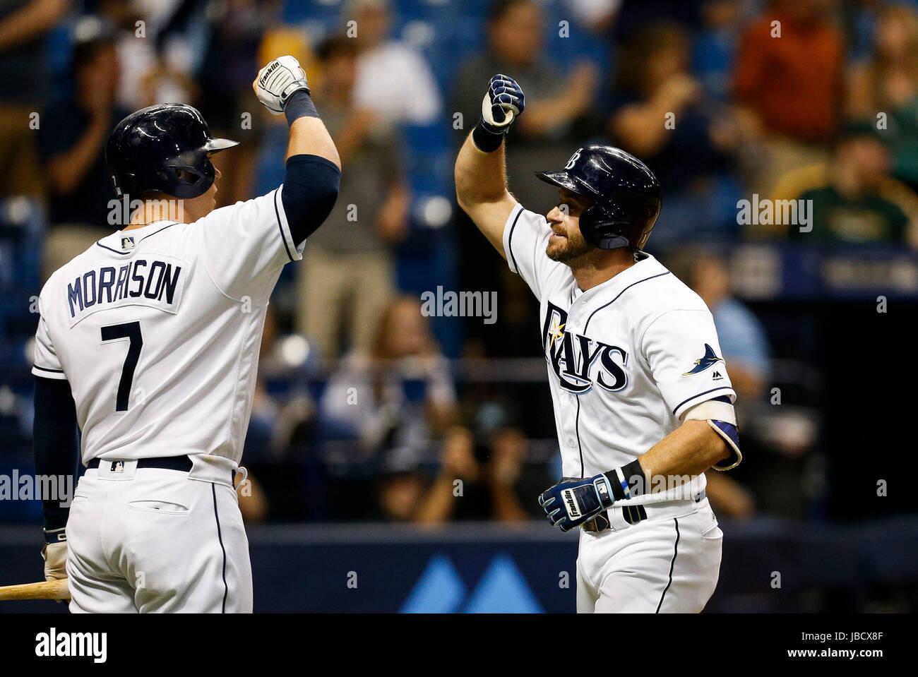 Florida, USA. 10th June, 2017. LOREN ELLIOTT   Times .Tampa Bay Rays third baseman Evan Longoria (3) celebrates - Stock Image