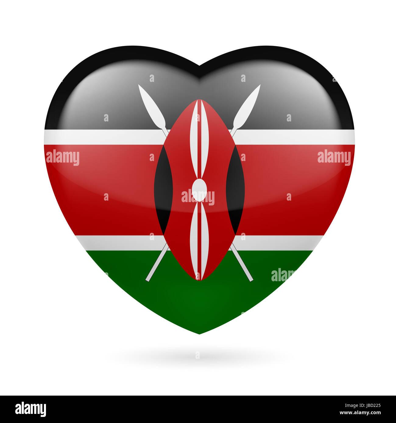 Heart with Kenyan flag colors. I love Kenya Stock Photo