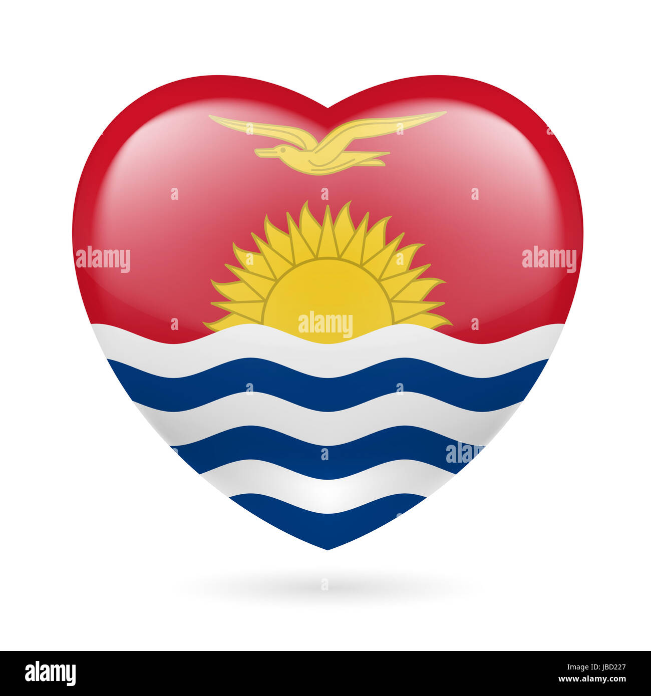 I love Kiribati. Heart with flag design - Stock Image
