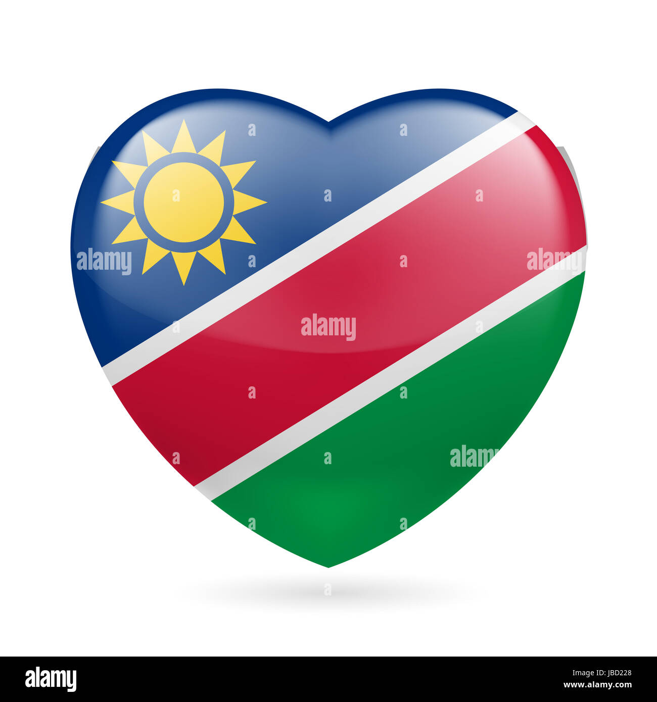 Heart with Namibian flag colors  I love Namibia Stock Photo