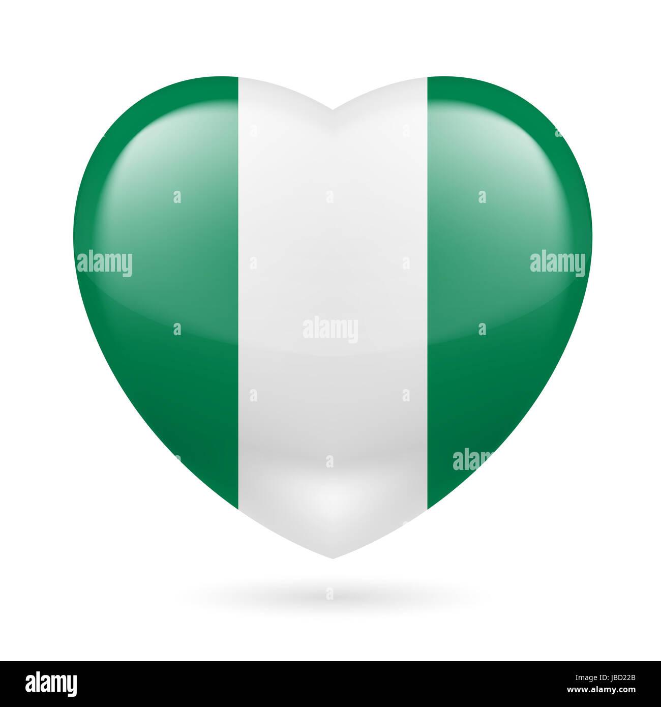 Heart with nigerian flag colors i love nigeria stock photo heart with nigerian flag colors i love nigeria ccuart Choice Image