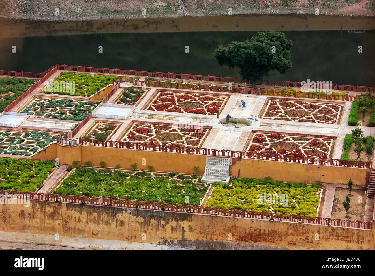 Close view of Kesar Kyari (Saffron Garden) on Maota Lake from Amber Fort, Rajasthan, India. Amber Fort is the main - Stock Image