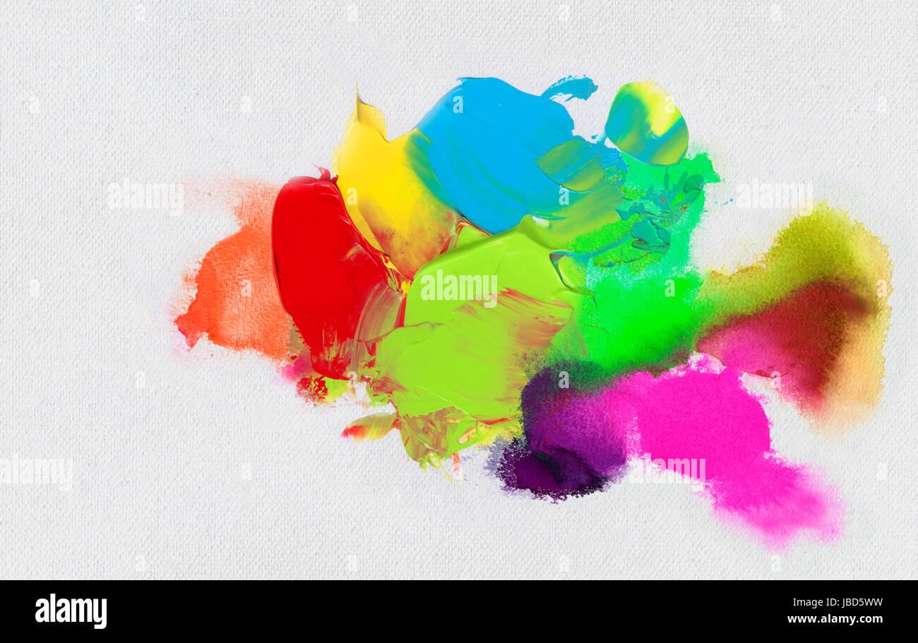 öl- und acrylfarbschichten auf leinwandstruktur - Stock Image