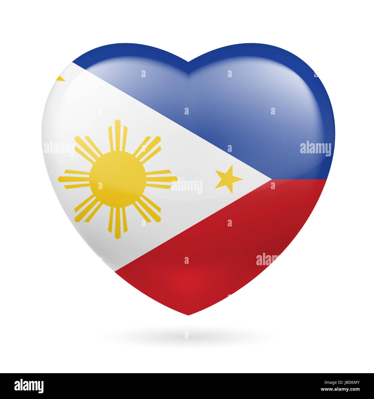 Heart With Filipino Flag Colors I Love Philippines Stock Photo