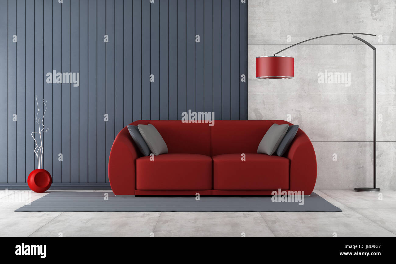 Contemporary Living Room With Red Couch Against Blue Slats ...