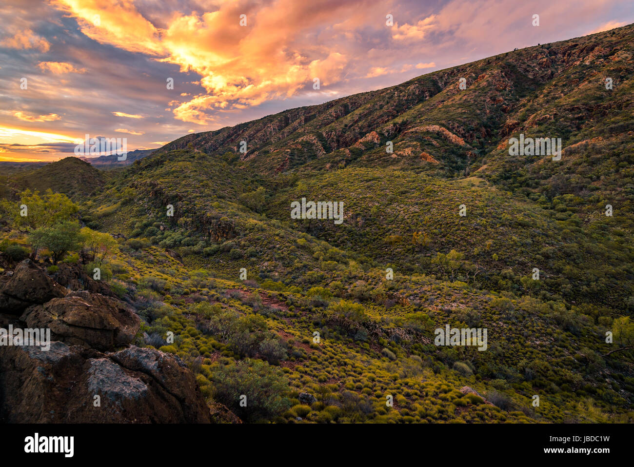 Sunset at Trig Point in West Macdonnell Ranges, Northern Territory - Stock Image
