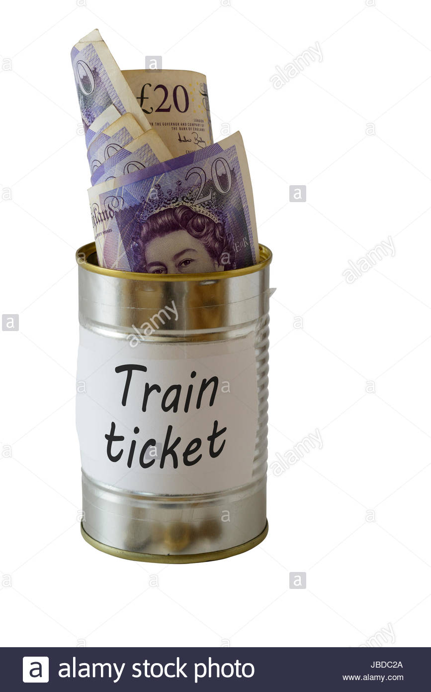 Train ticket, cash kept in a tin can, England, UK - Stock Image