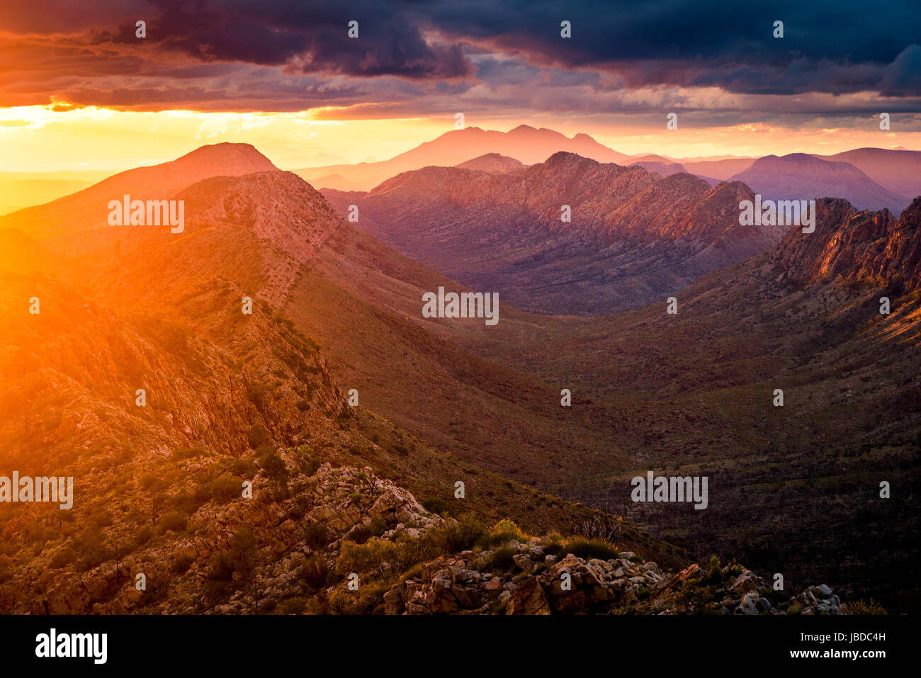 Sunset at Counts Point in West Macdonnell Ranges, Northern Territory - Stock Image