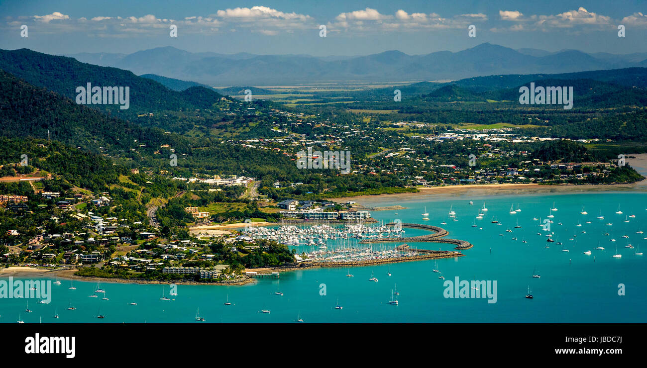 Aerial view of Airlie Beach, Queensland - Stock Image