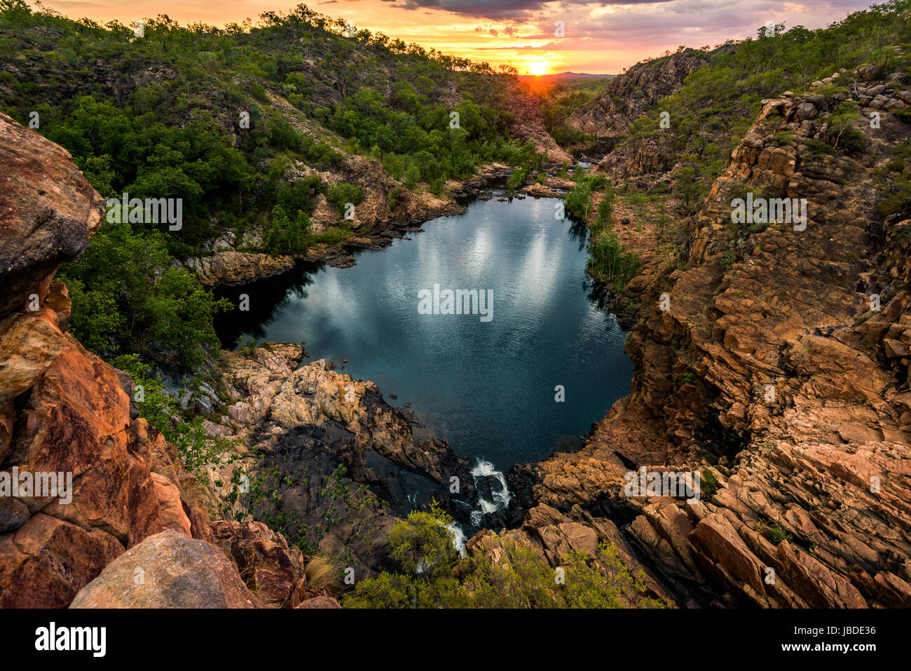 Middle Pool of Edith Falls at Nitmiluk National Park , Northern Territory - Stock Image