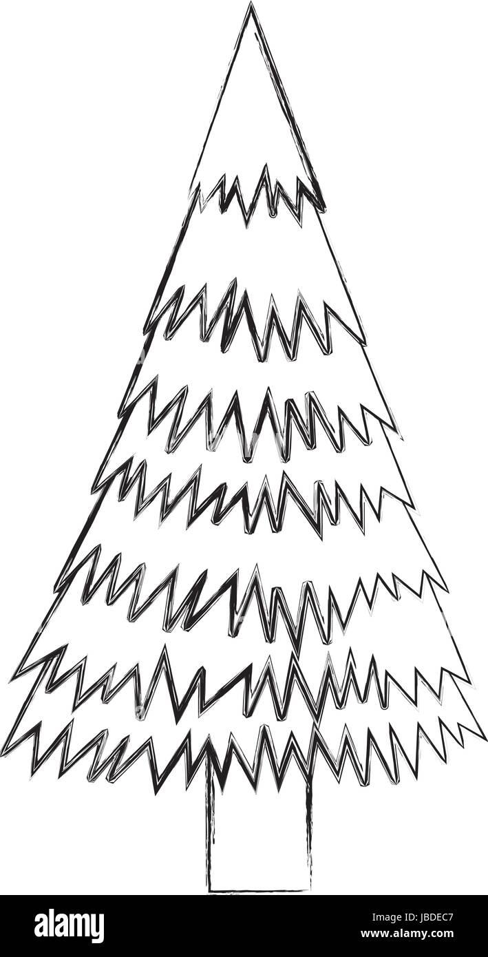 Sketch Draw Christmas Tree Cartoon Stock Vector Art Illustration