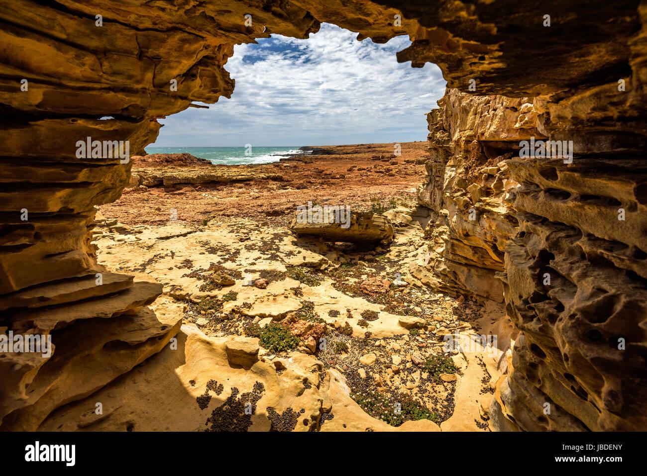 Arch at Quobba Coastline, Western Australia - Stock Image