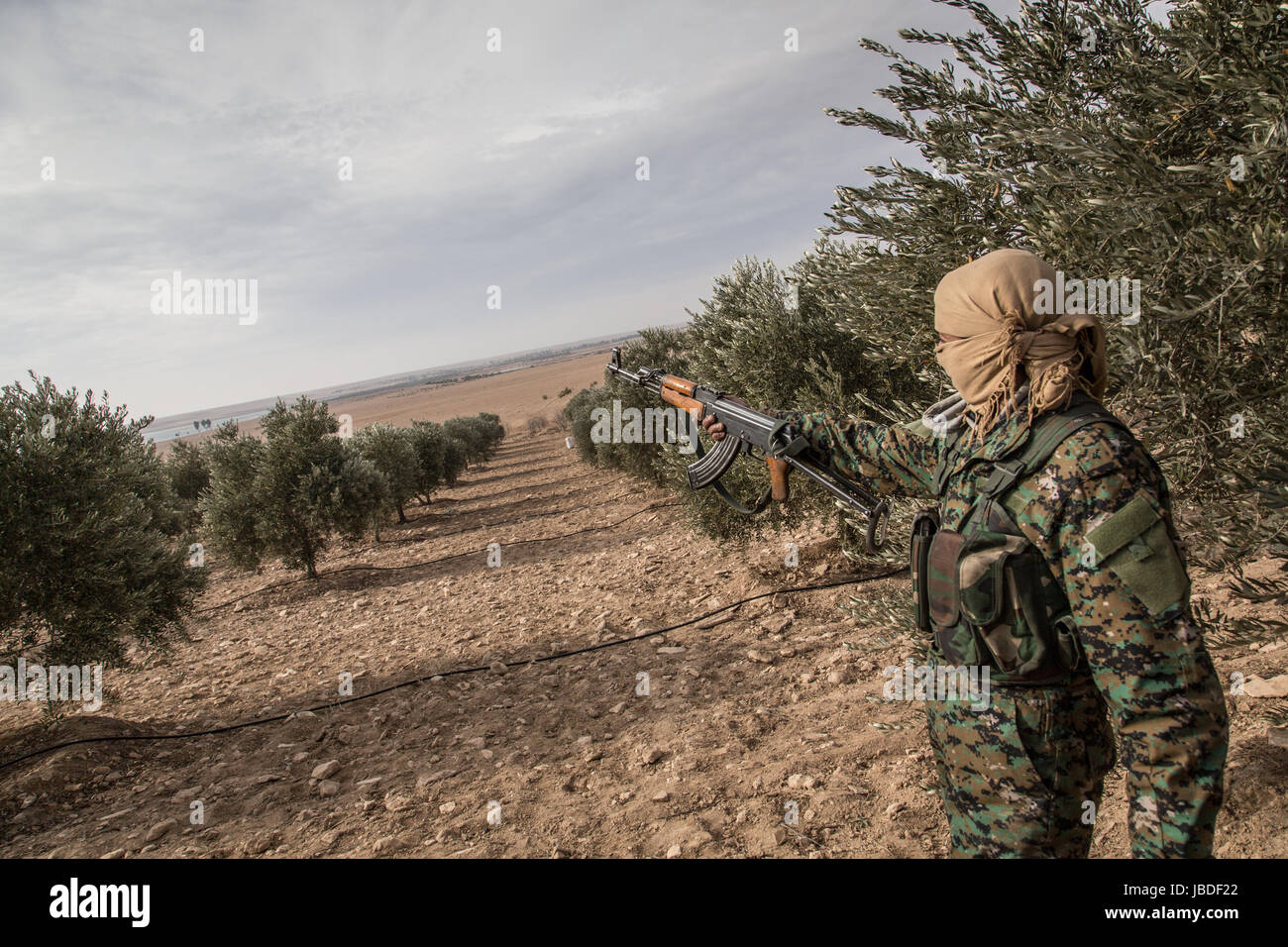 Chris Huby / Le Pictorium -  Syria / Rojava - Wrath of the Euphrates -  02/01/2017  -  Rojava  -  SYRIA - ROJAVA Stock Photo