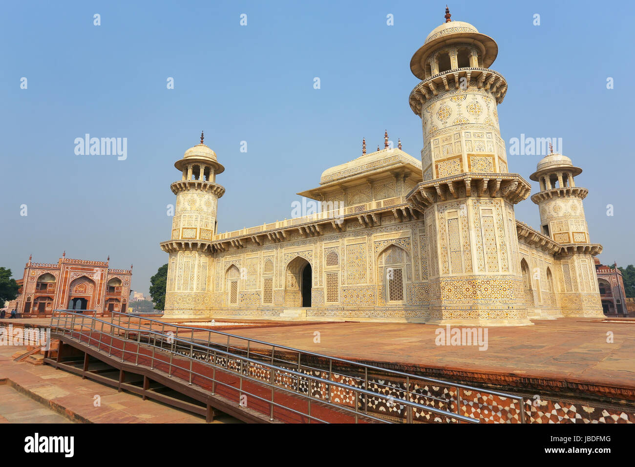 Tomb of Itimad-ud-Daulah in Agra, Uttar Pradesh, India. This Tomb is often regarded as a draft of the Taj Mahal. - Stock Image