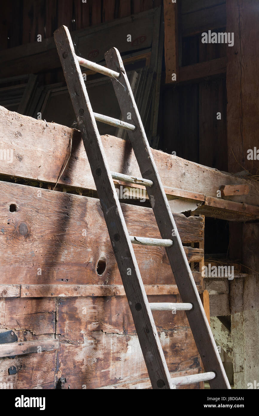 Antique Wooden Ladder In Abandoned Old Barn Stock Photo 144742381