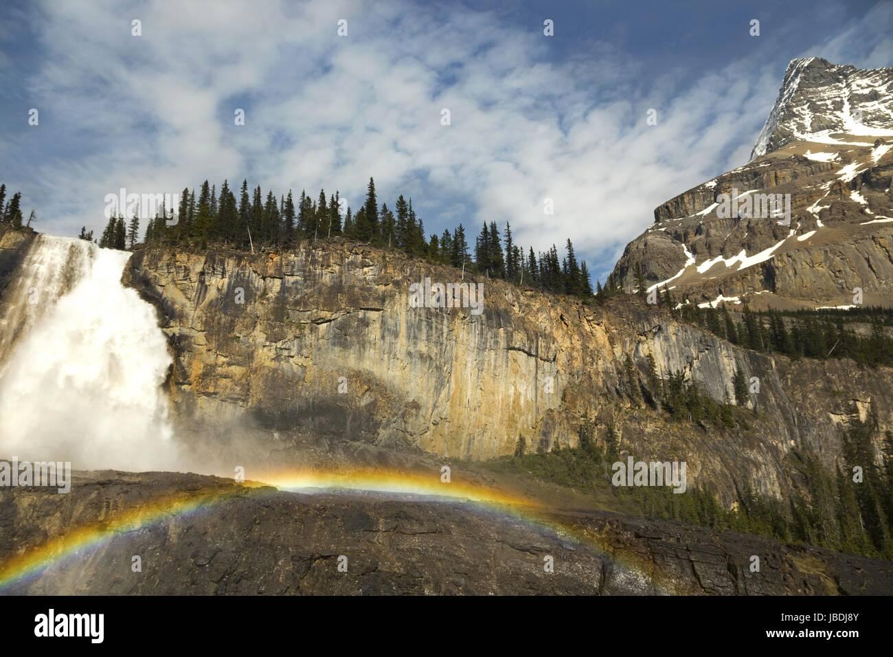 Emperor Falls Berg Lake Hiking Trail Mount Robson Rocky Mountains British Columbia Canada - Stock Image