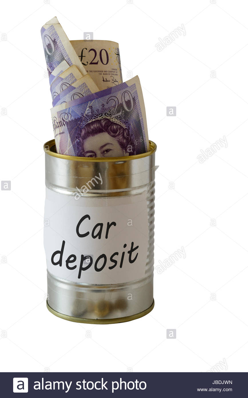 Car deposit, cash kept in a tin can, England, UK - Stock Image