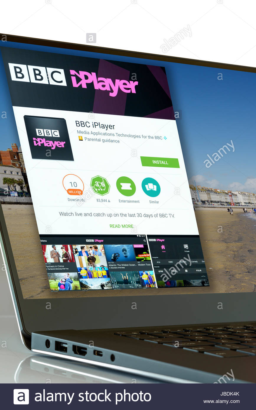 BBC iPlayer app on laptop screen, England, UK - Stock Image