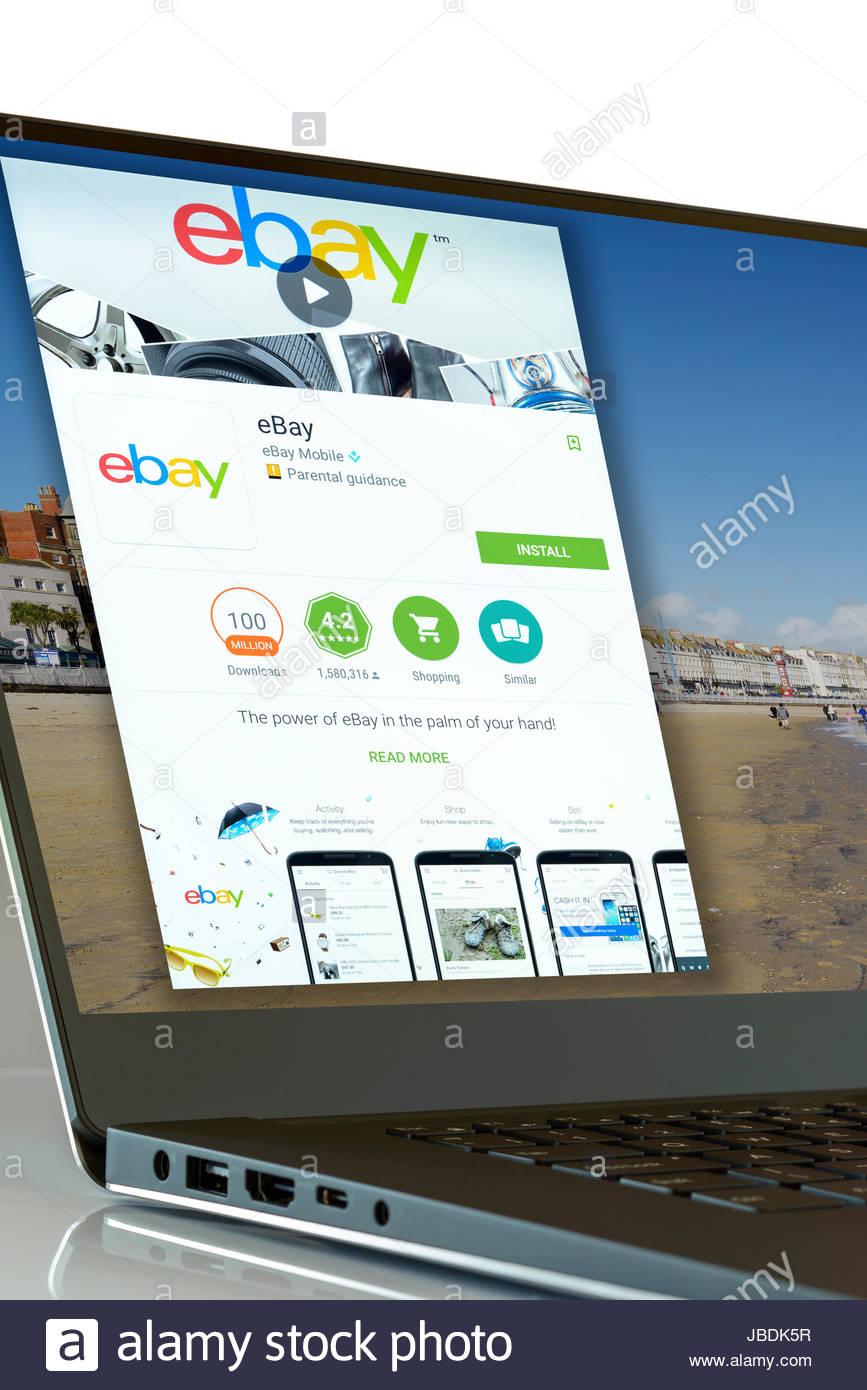 Ebay App On Laptop Screen England Uk Stock Photo Alamy