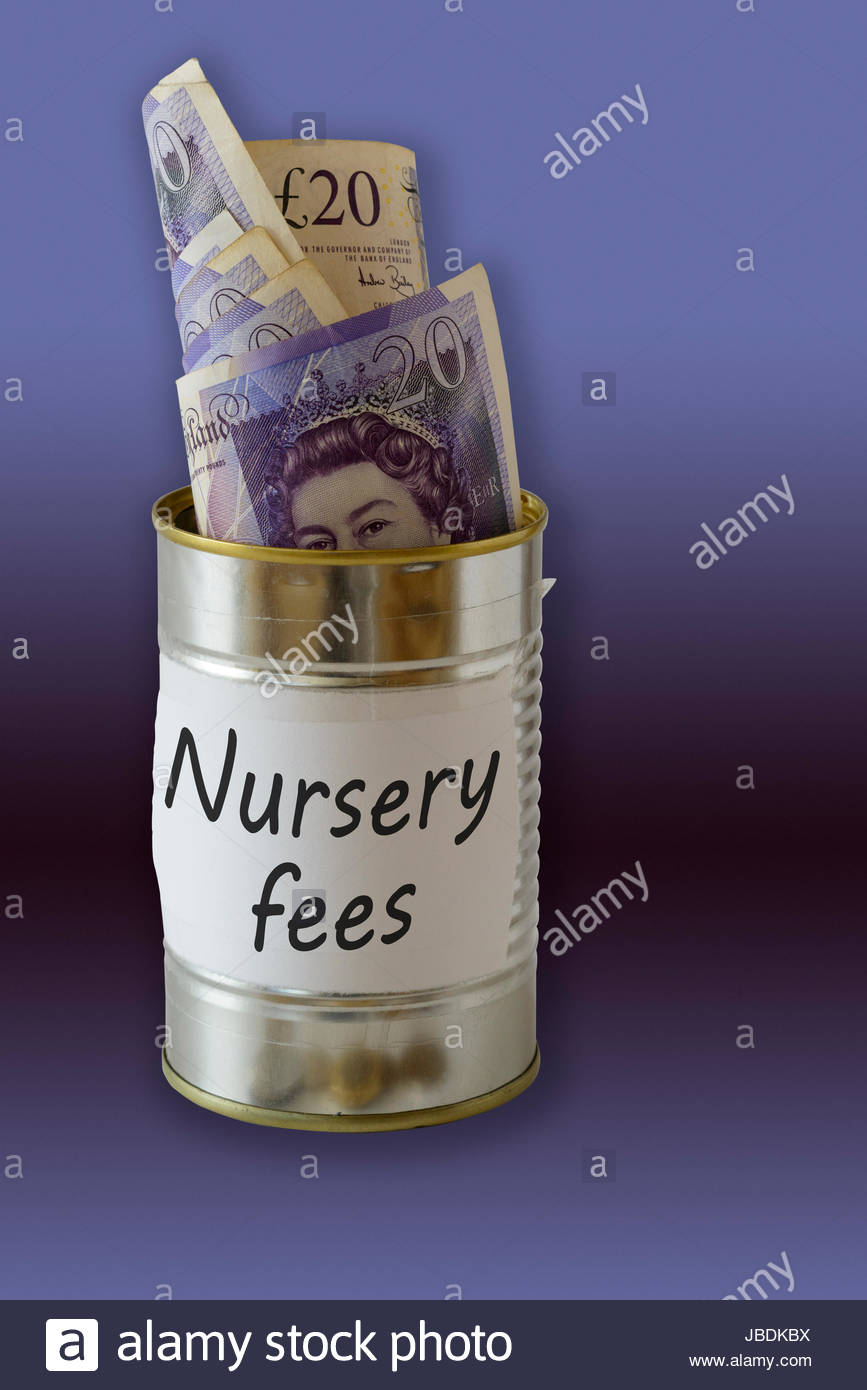 Nursery fees, cash kept in a tin can, England, UK - Stock Image