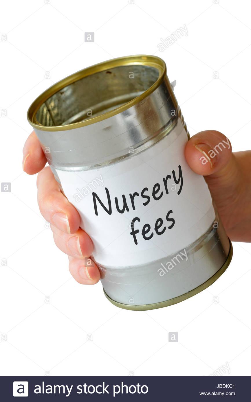 Nursery fees, empty begging can, England, UK - Stock Image
