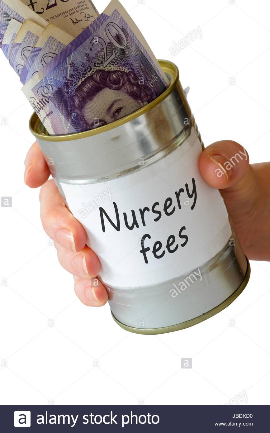 Nursery fees, Begging tin can, England, UK - Stock Image