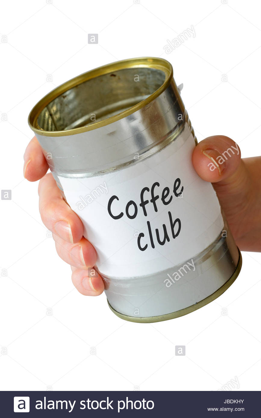 Coffee club, empty begging can, England, UK - Stock Image