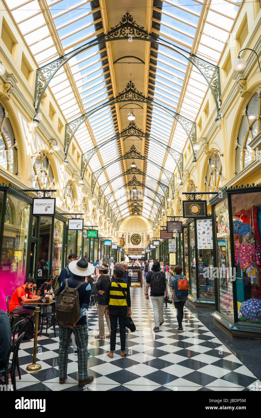 The Royal Arcade, Bourke Street Mall, Melbourne VIC 3000, Australia - Stock Image