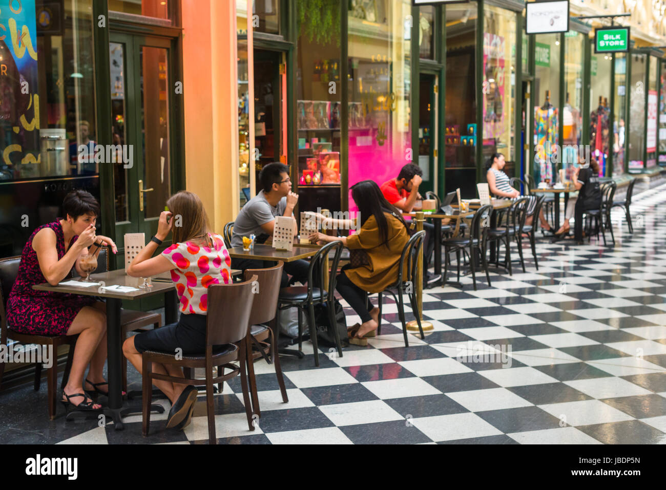 Cafe at the Royal Arcade, Bourke Street Mall, Melbourne VIC 3000, Australia - Stock Image