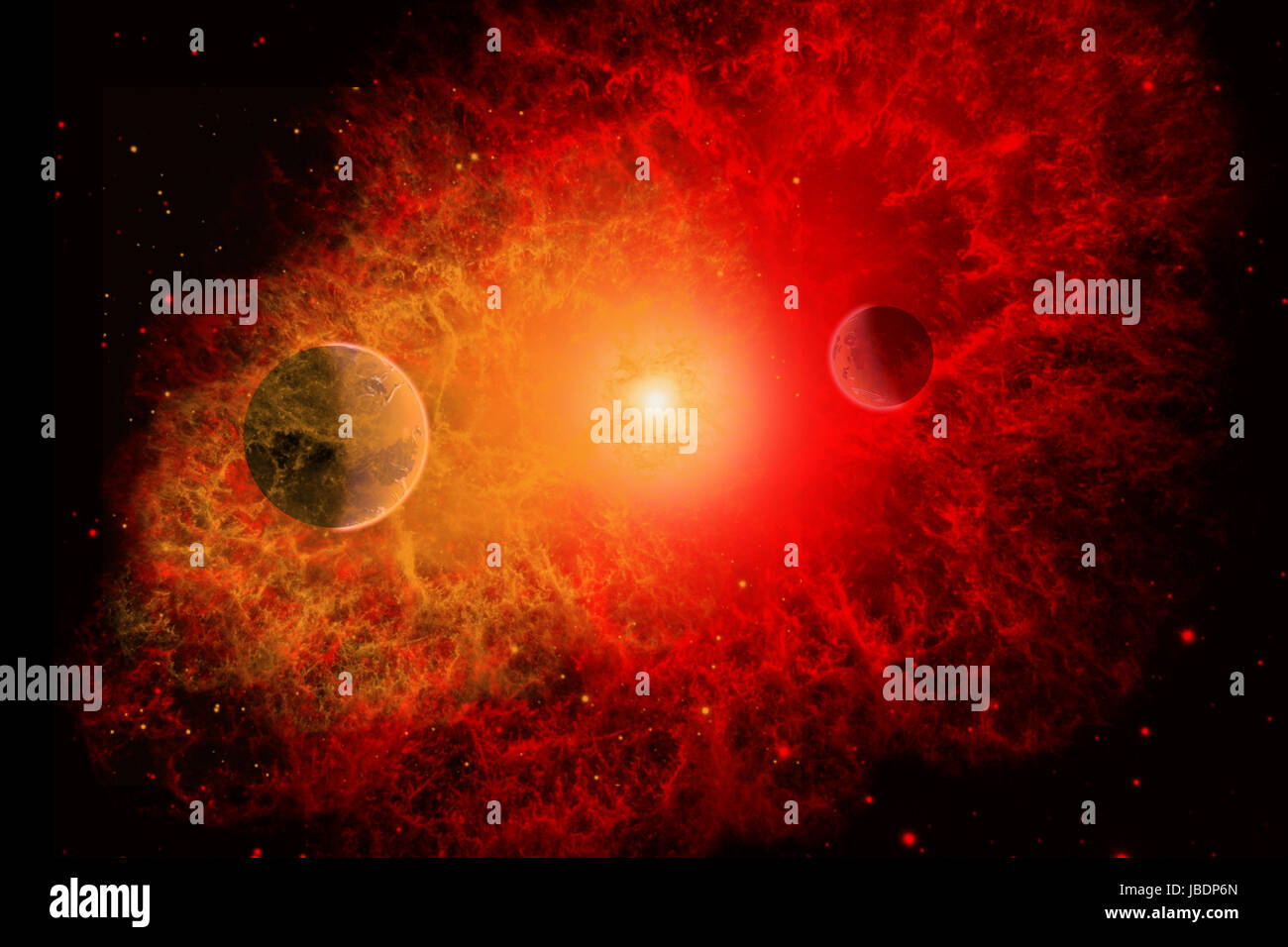 A Supernova Destroying Itself & Its System Of Planets.. - Stock Image