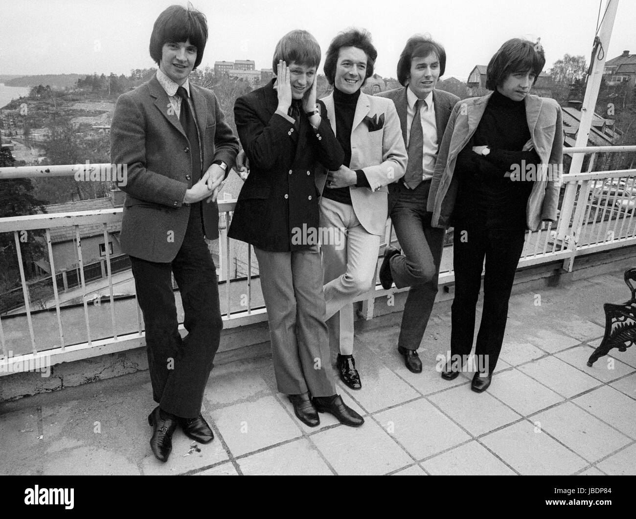 THE HOLLIES popgroup England 1969 band member  Allan Clarke,Terry Sylvester,Tony Hicks,Bobby Elliott och Bernie - Stock Image