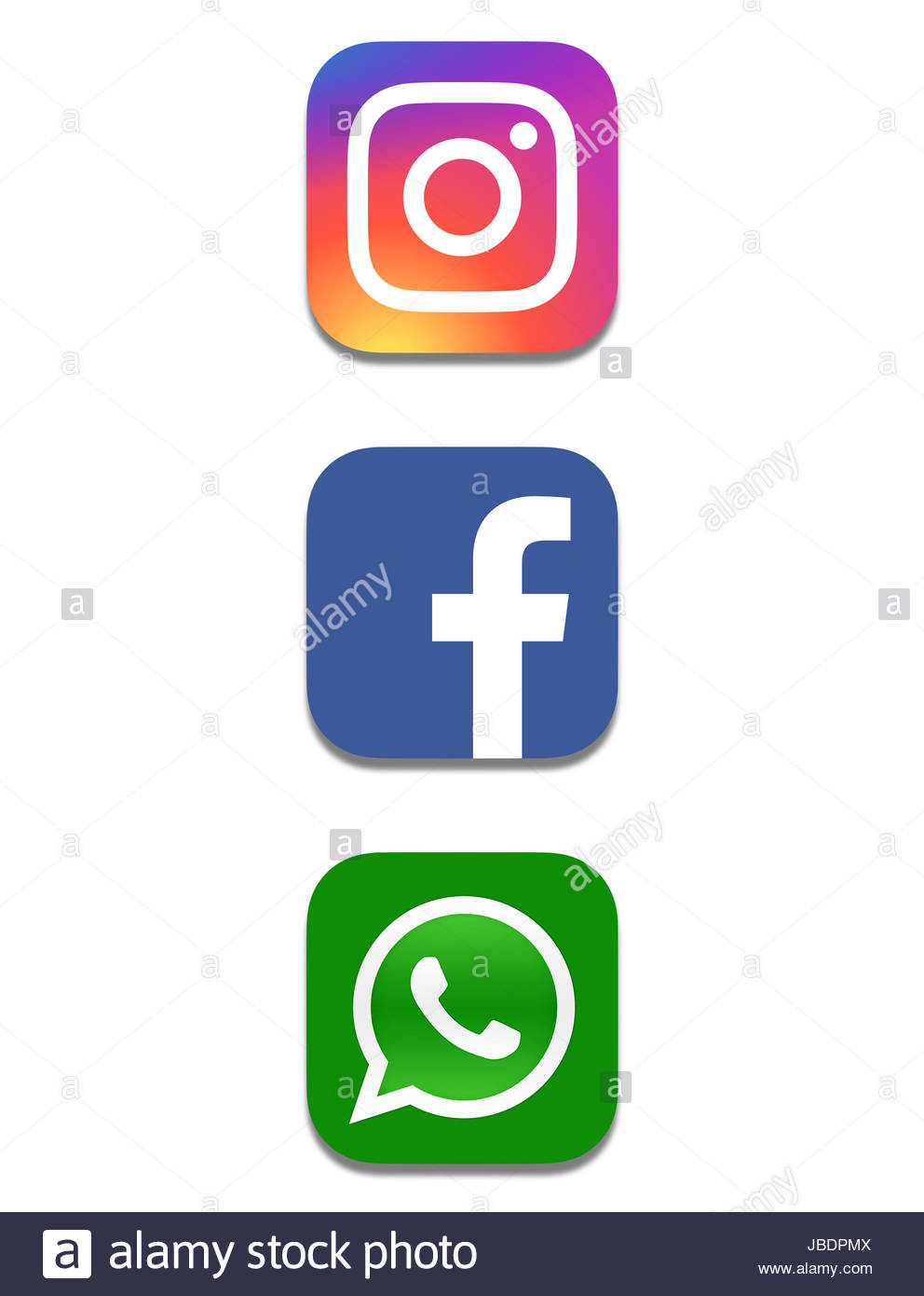 Facebook Instagram Whatsapp icon logoStock Photo
